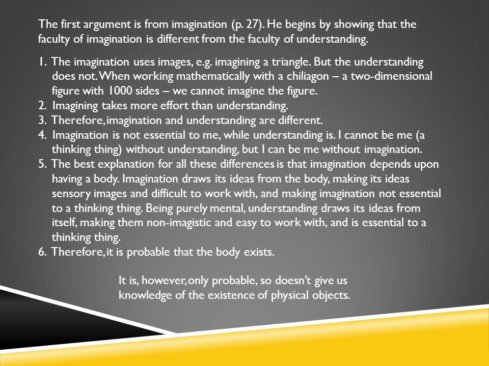 The first argument is from imagination (p. 27)