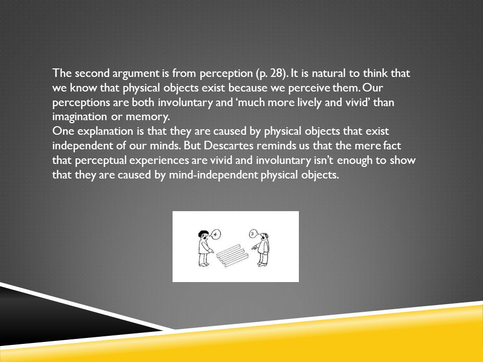 The second argument is from perception (p. 28)