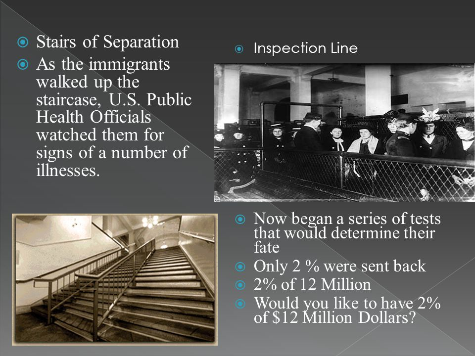 Stairs of Separation As the immigrants walked up the staircase, U.S. Public Health Officials watched them for signs of a number of illnesses.