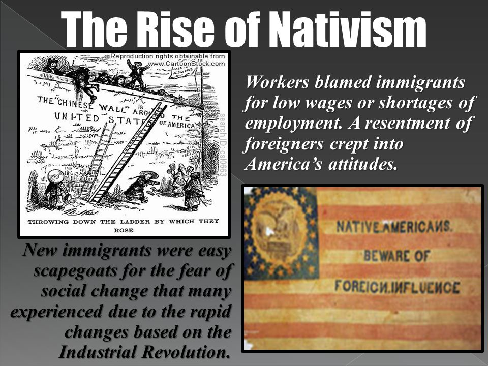 The Rise of Nativism Workers blamed immigrants for low wages or shortages of employment. A resentment of foreigners crept into America's attitudes.