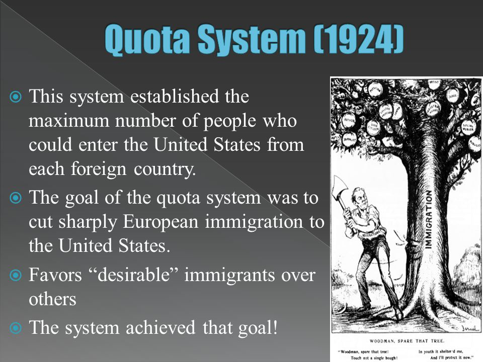 Quota System (1924) This system established the maximum number of people who could enter the United States from each foreign country.