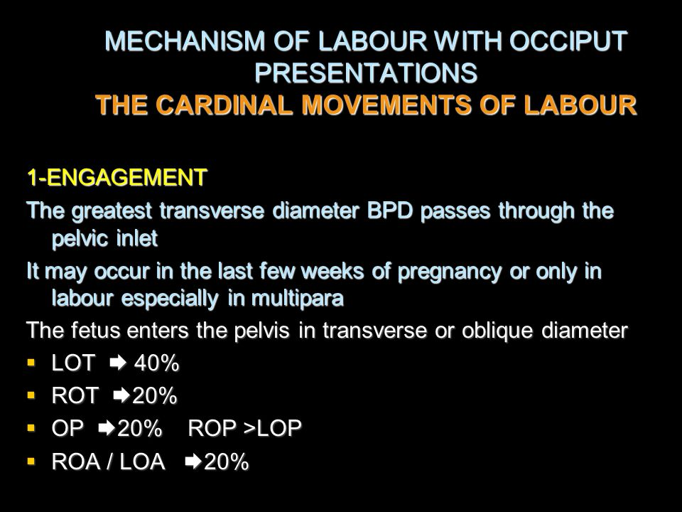 MECHANISM OF LABOUR WITH OCCIPUT PRESENTATIONS THE CARDINAL MOVEMENTS OF LABOUR