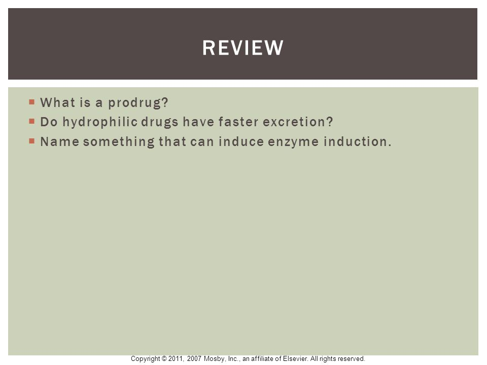 review What is a prodrug Do hydrophilic drugs have faster excretion