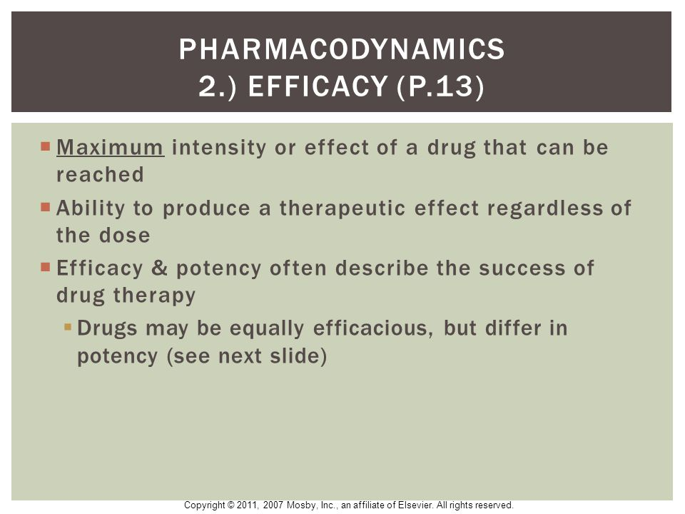 Pharmacodynamics 2.) EFFICACY (p.13)