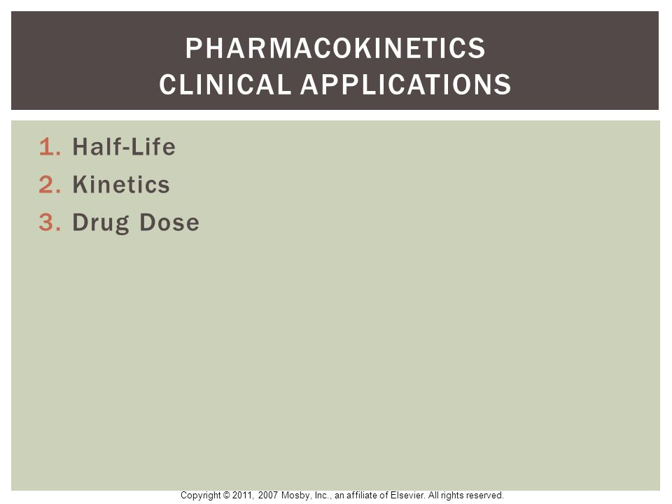 Pharmacokinetics clinical applications