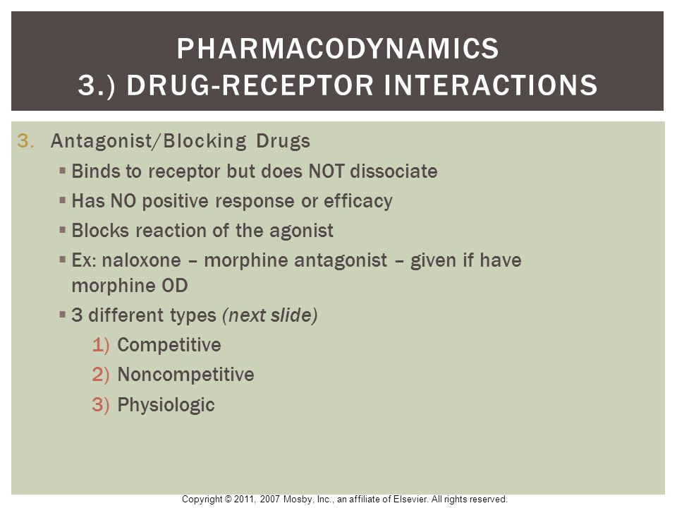pharmacodynamics 3.) drug-receptor interactions