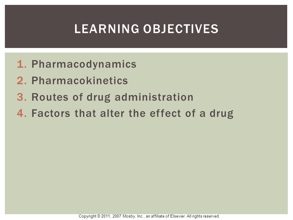 Learning Objectives Pharmacodynamics Pharmacokinetics