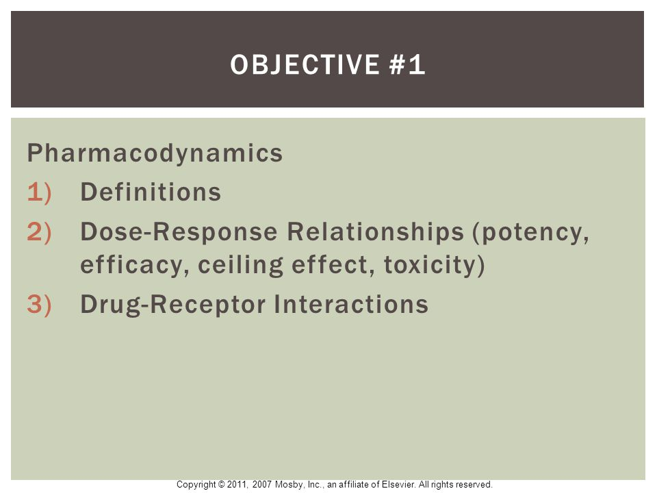 Objective #1 Pharmacodynamics Definitions