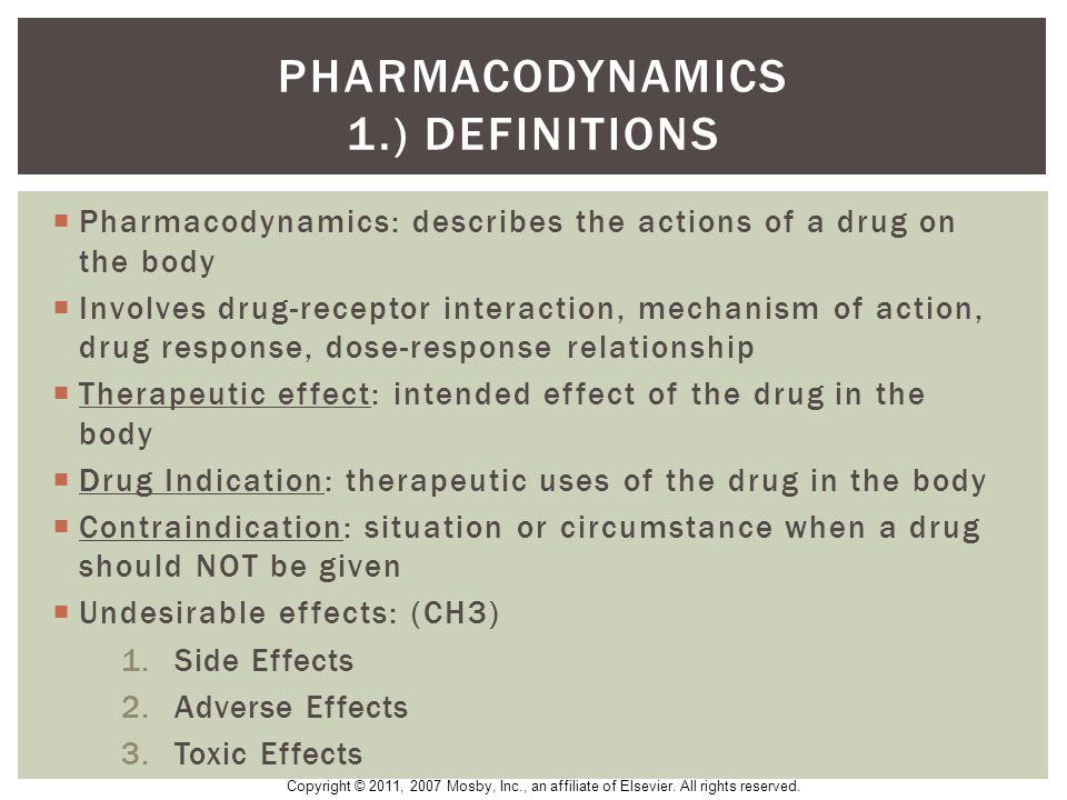 Pharmacodynamics 1.) Definitions