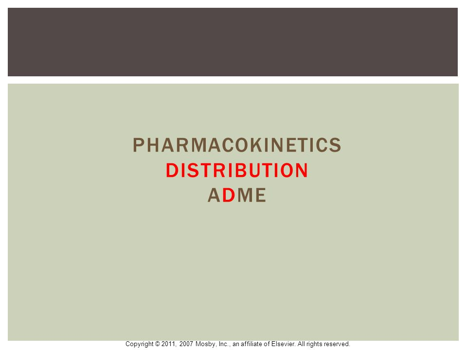 Pharmacokinetics distribution ADME