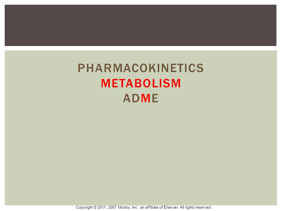 Pharmacokinetics metabolism ADME