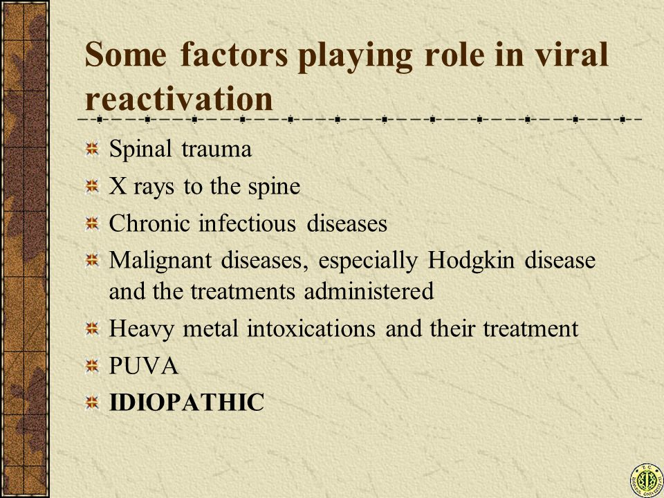Some factors playing role in viral reactivation