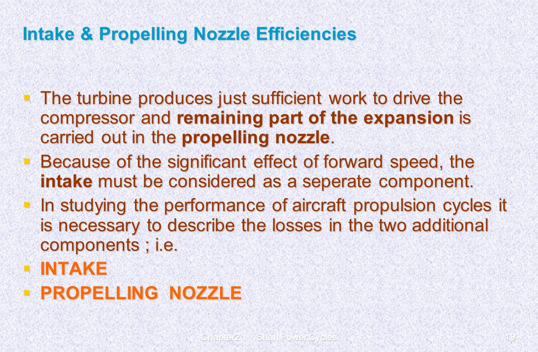 Intake & Propelling Nozzle Efficiencies