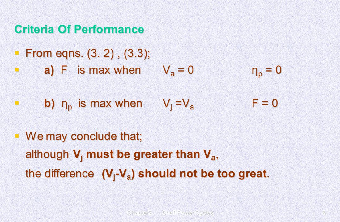 Criteria Of Performance