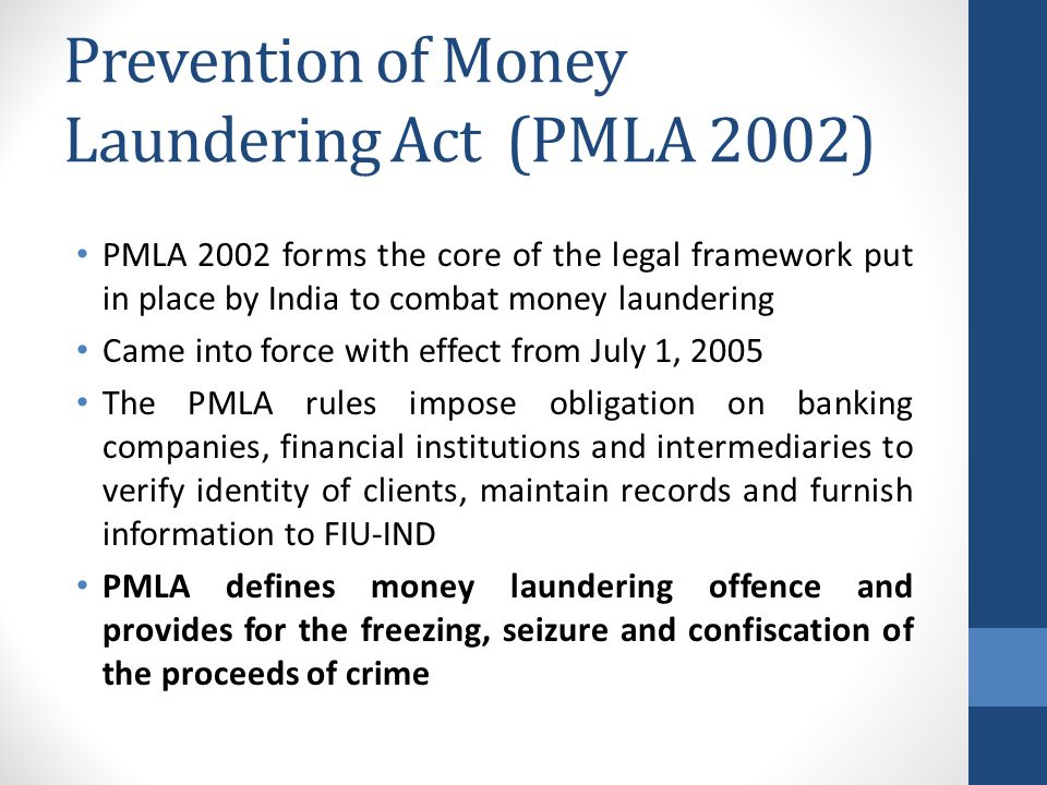 Prevention of Money Laundering Act (PMLA 2002)