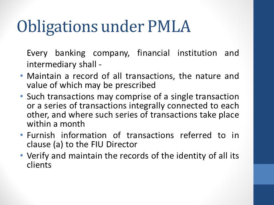 Obligations under PMLA