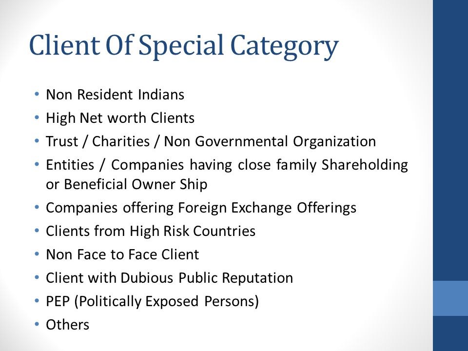Client Of Special Category