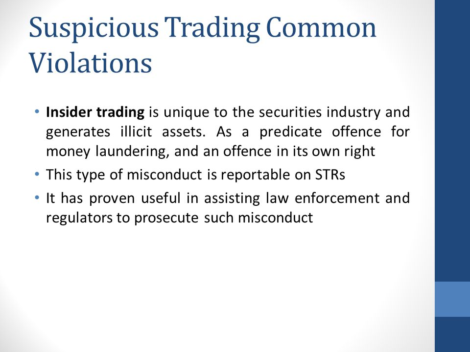 Suspicious Trading Common Violations