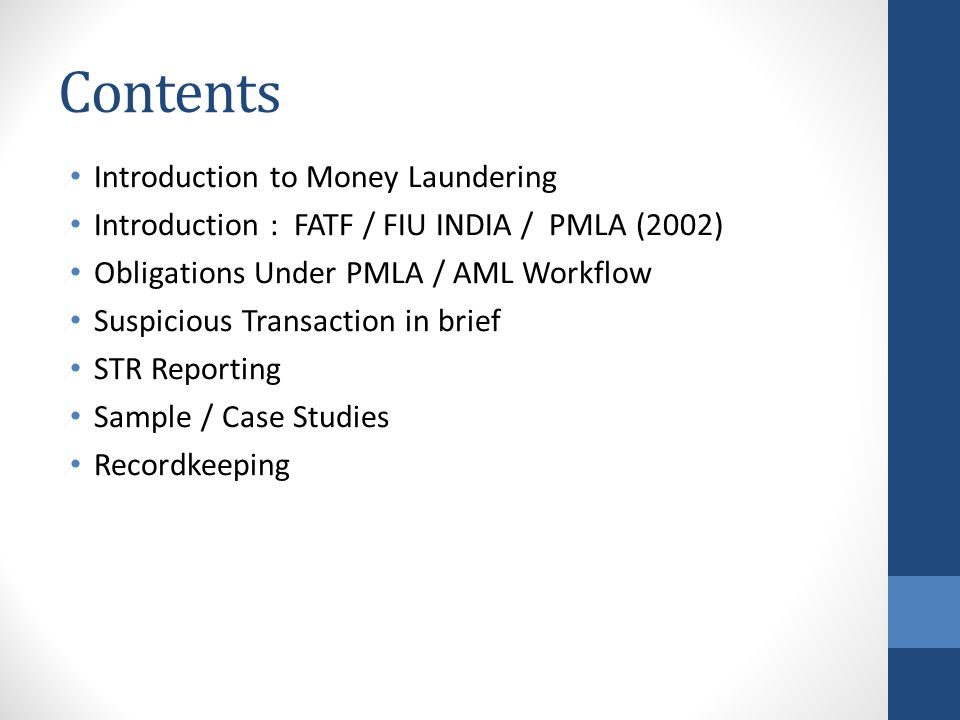 Contents Introduction to Money Laundering