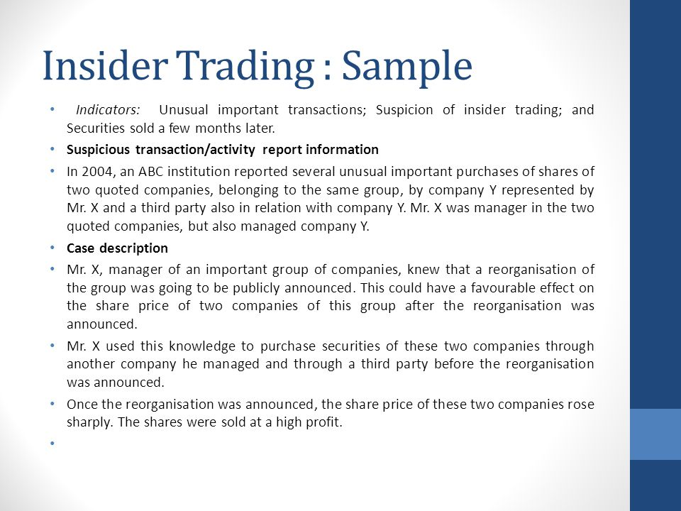 Insider Trading : Sample