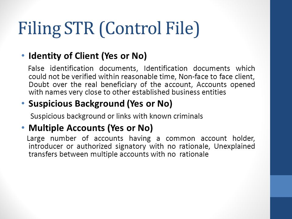 Filing STR (Control File)