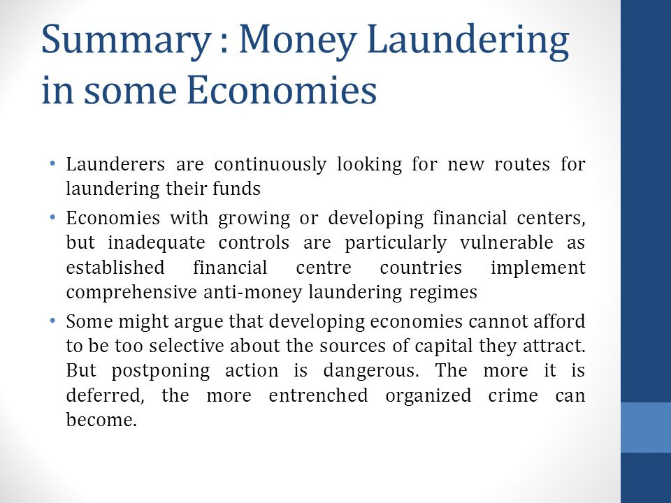 Summary : Money Laundering in some Economies