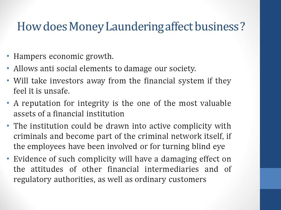 How does Money Laundering affect business