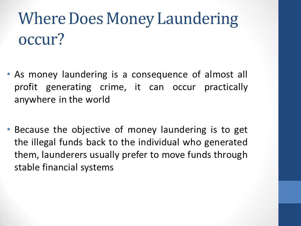 Where Does Money Laundering occur