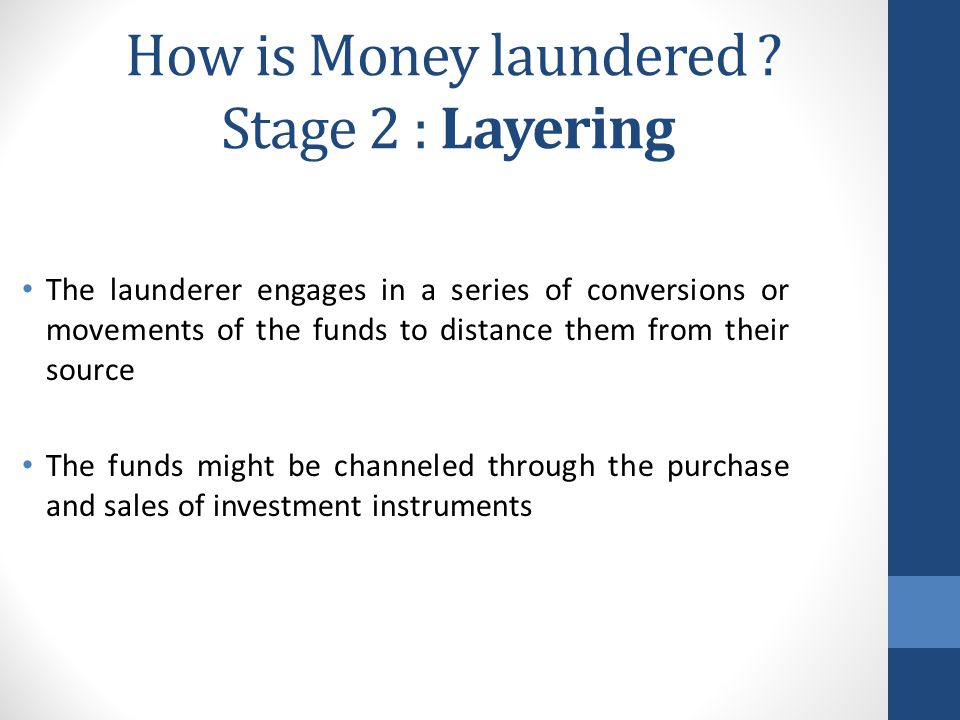 How is Money laundered Stage 2 : Layering