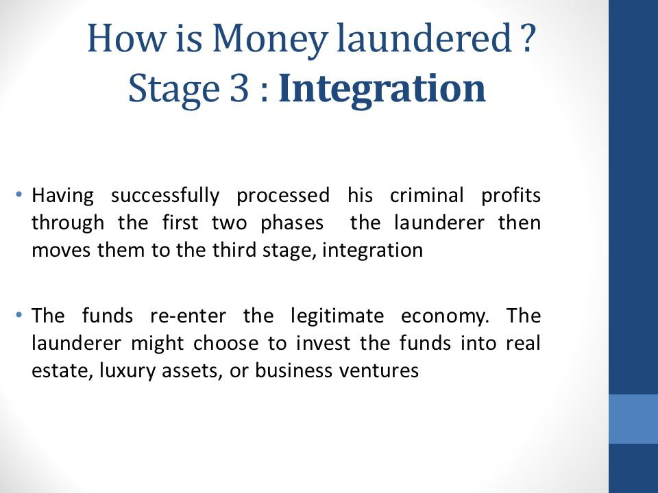 How is Money laundered Stage 3 : Integration