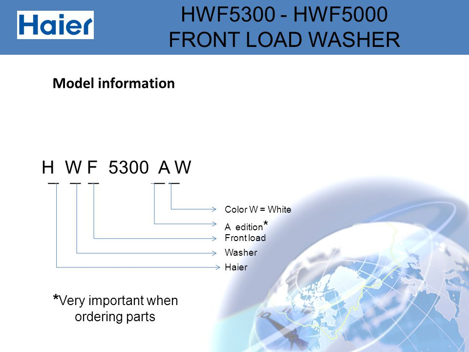 H W F 5300 A W Model information *Very important when ordering parts