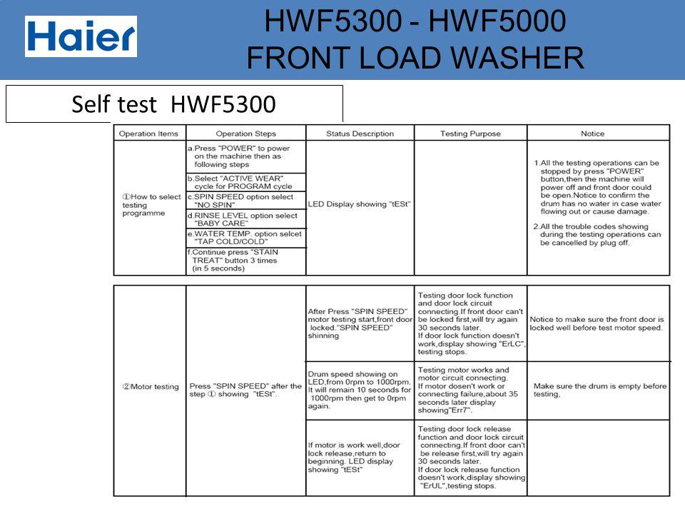 Self test HWF5300