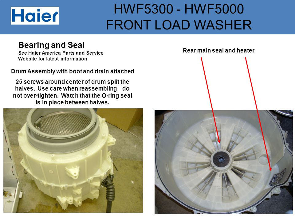 Rear main seal and heater Drum Assembly with boot and drain attached