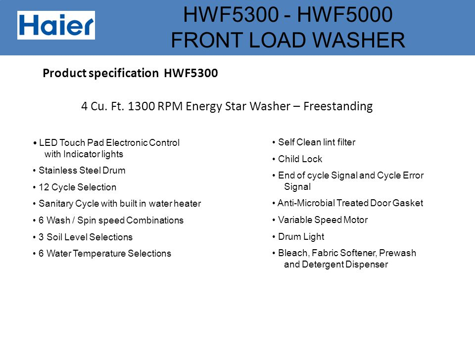 Product specification HWF5300