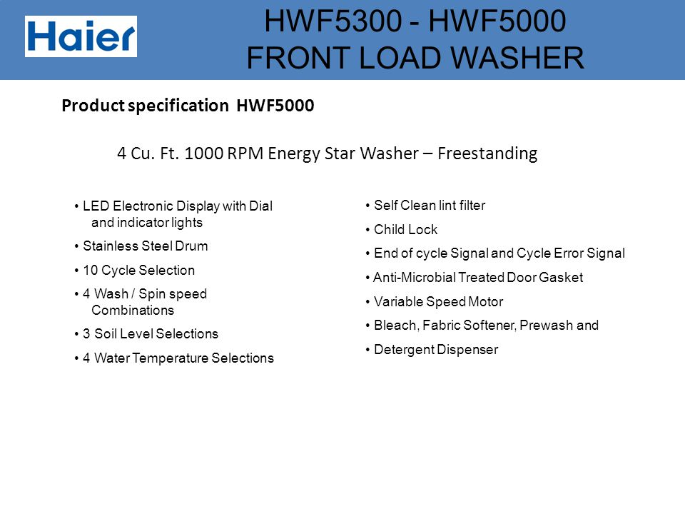 Product specification HWF5000