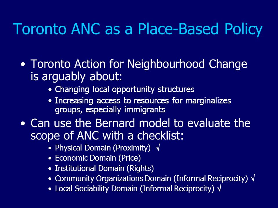 Toronto ANC as a Place-Based Policy