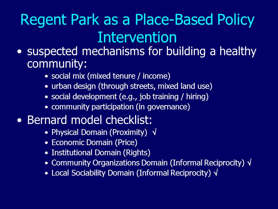 Regent Park as a Place-Based Policy Intervention