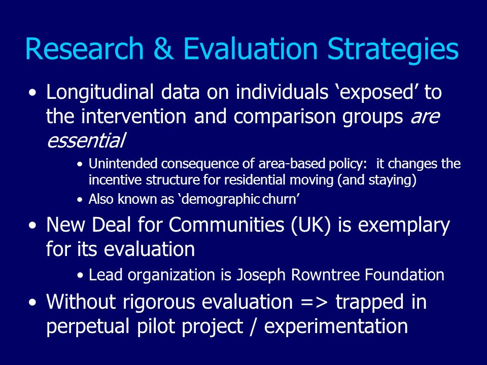 Research & Evaluation Strategies