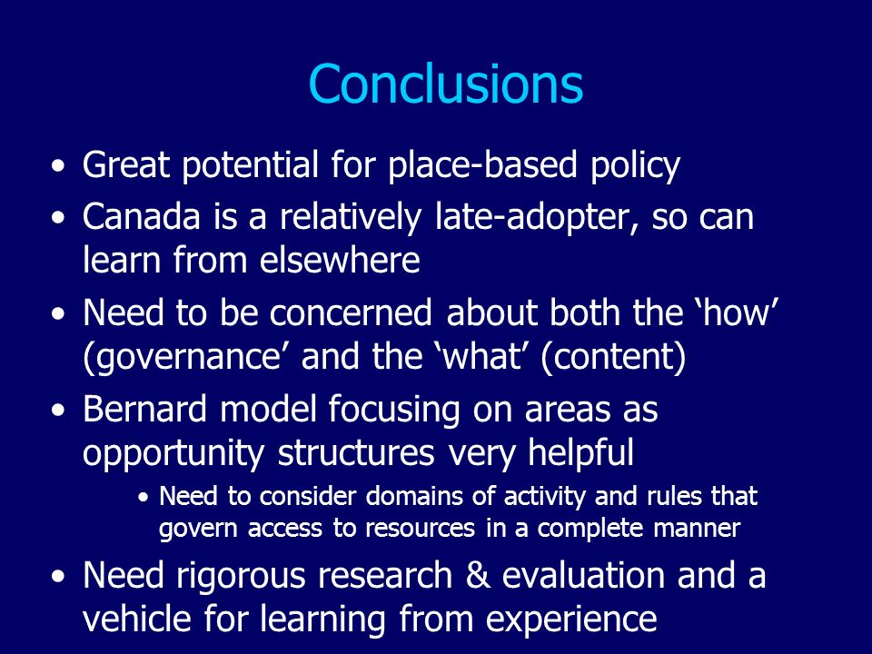 Conclusions Great potential for place-based policy