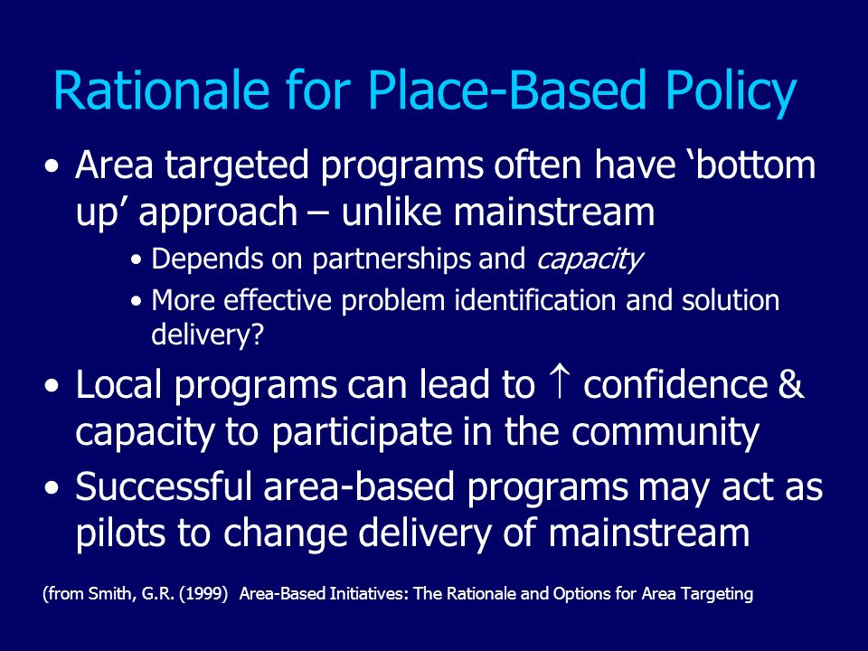 Rationale for Place-Based Policy