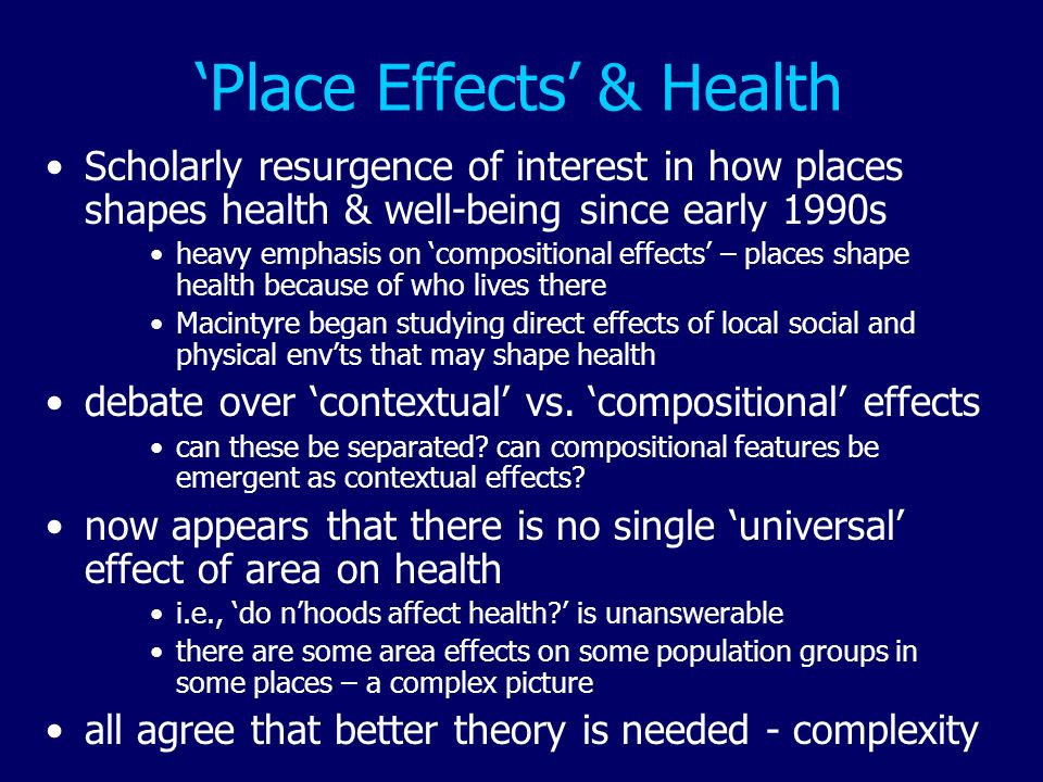 'Place Effects' & Health