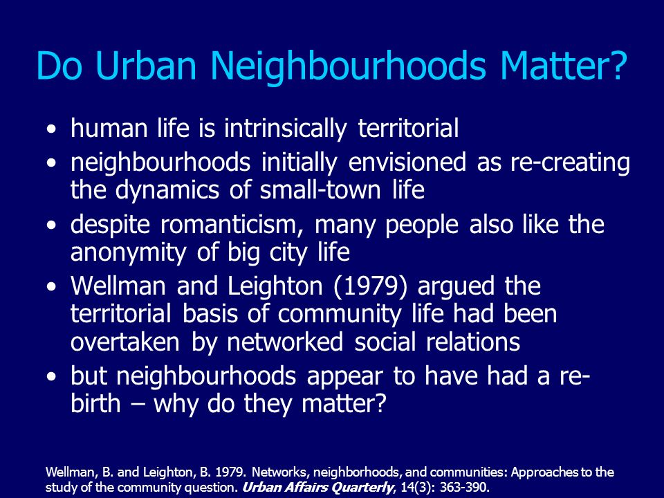Do Urban Neighbourhoods Matter