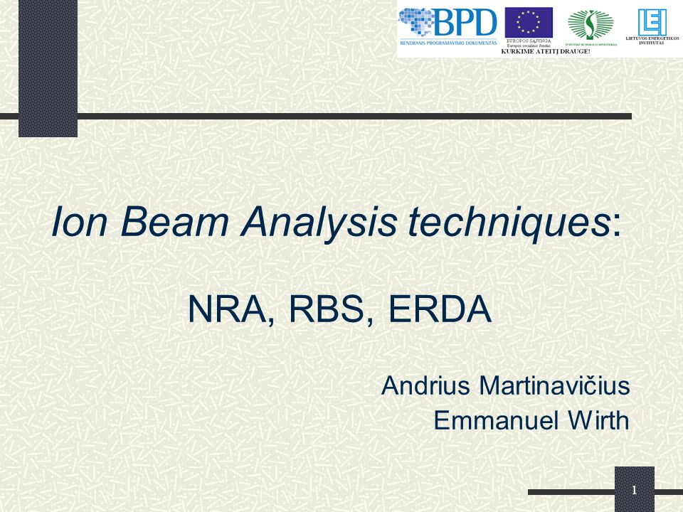 Ion Beam Analysis techniques: