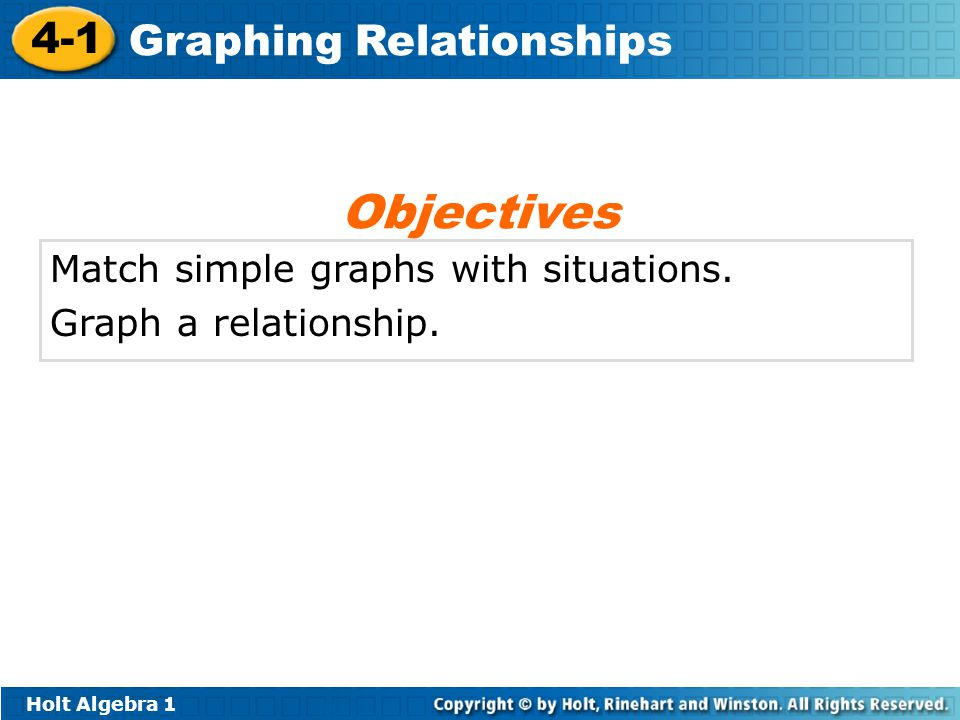 Objectives Match simple graphs with situations. Graph a relationship.