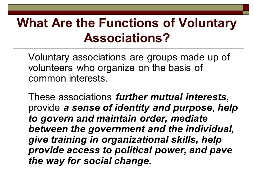 What Are the Functions of Voluntary Associations