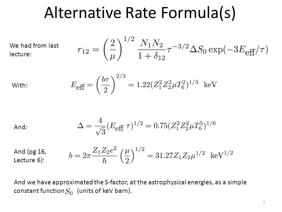 Alternative Rate Formula(s)