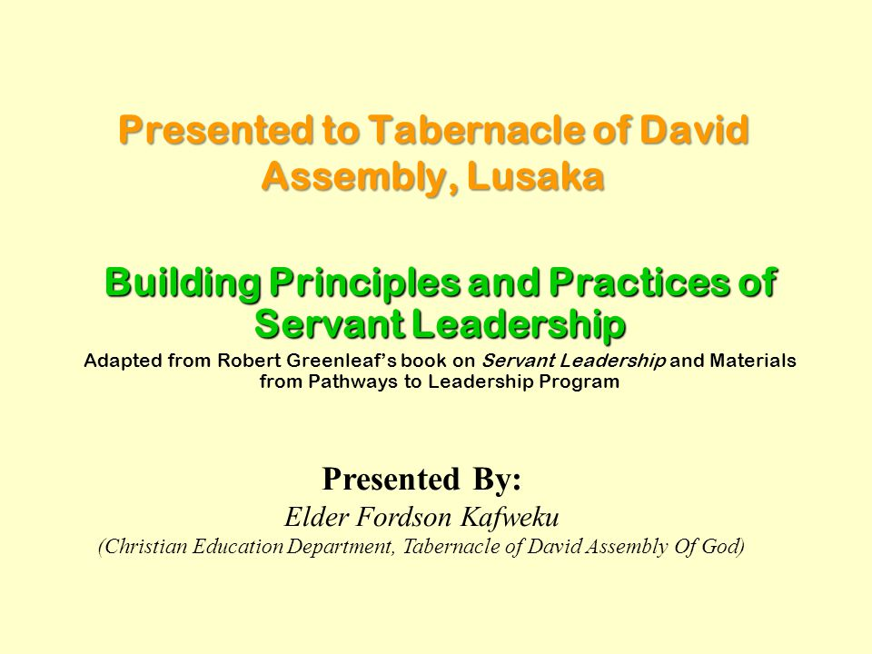 Presented to Tabernacle of David Assembly, Lusaka