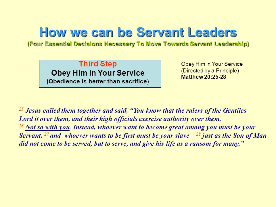 Obey Him in Your Service