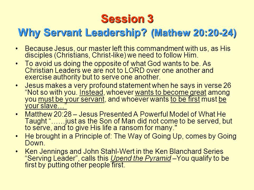 Session 3 Why Servant Leadership (Mathew 20:20-24)