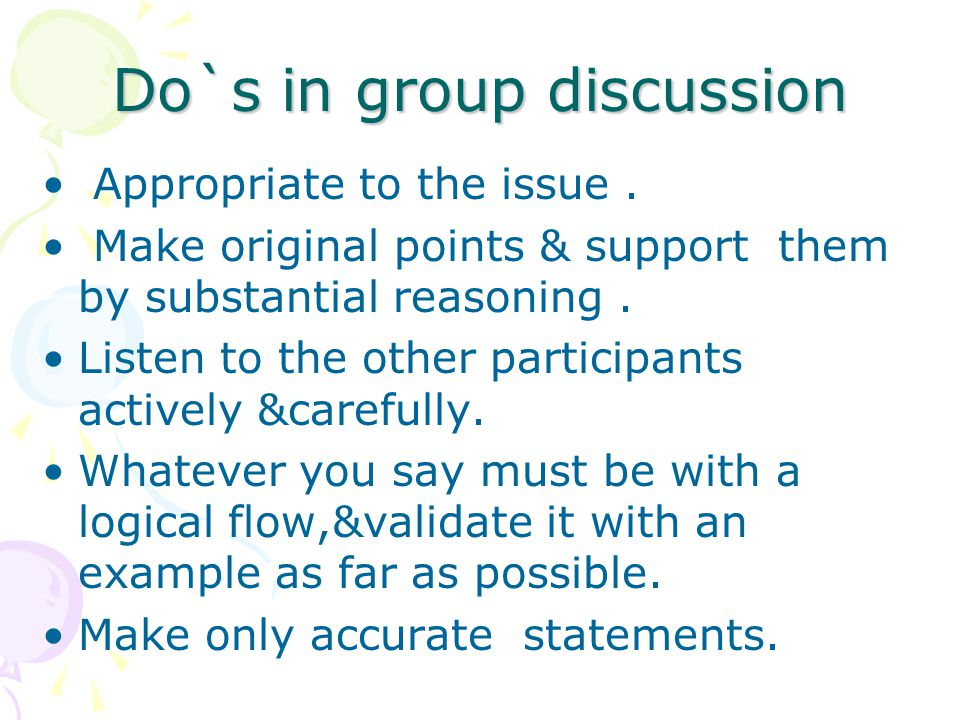 Do`s in group discussion